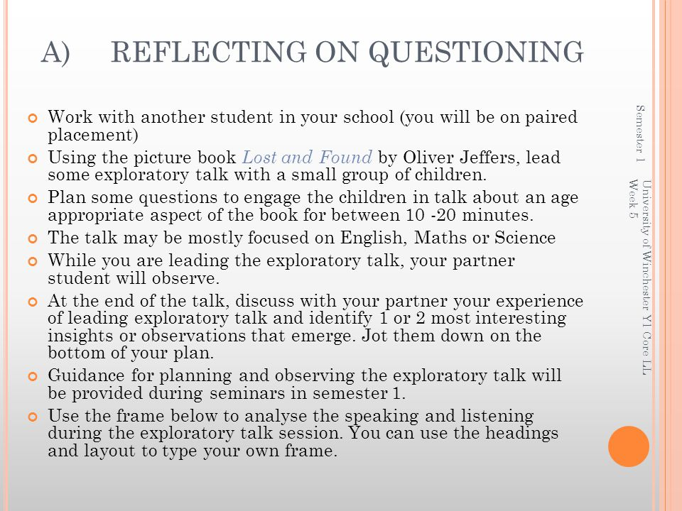A) REFLECTING ON QUESTIONING