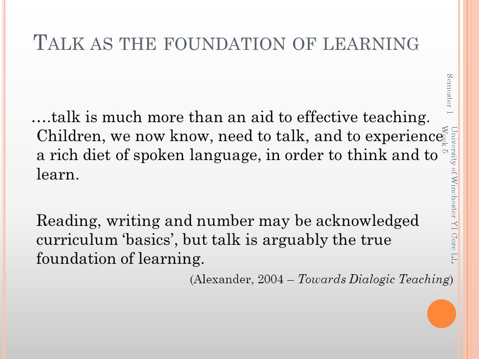 Talk as the foundation of learning