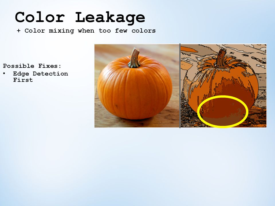 Color Leakage + Color mixing when too few colors Possible Fixes: