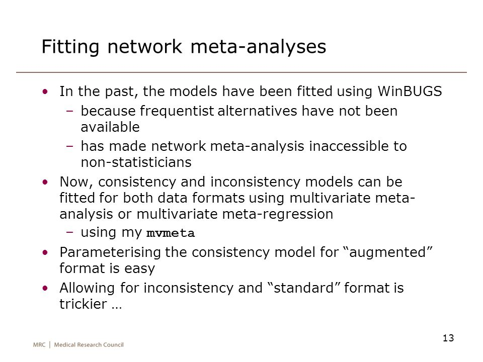 Fitting network meta-analyses