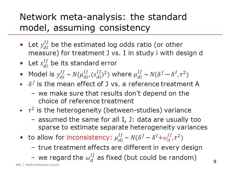 Network meta-analysis: the standard model, assuming consistency