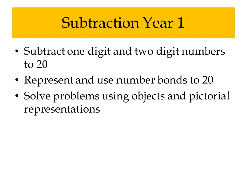 Subtraction Year 1 Subtract one digit and two digit numbers to 20