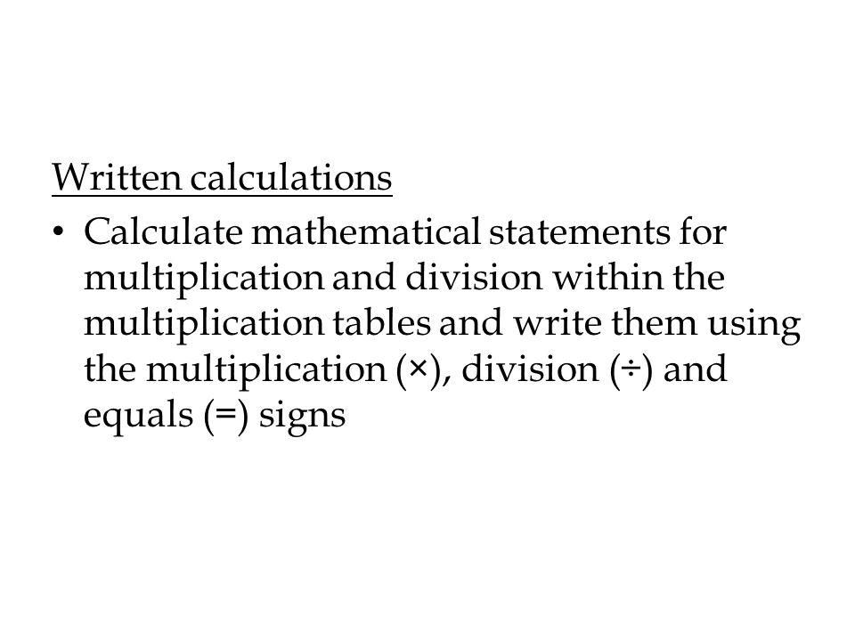 Written calculations