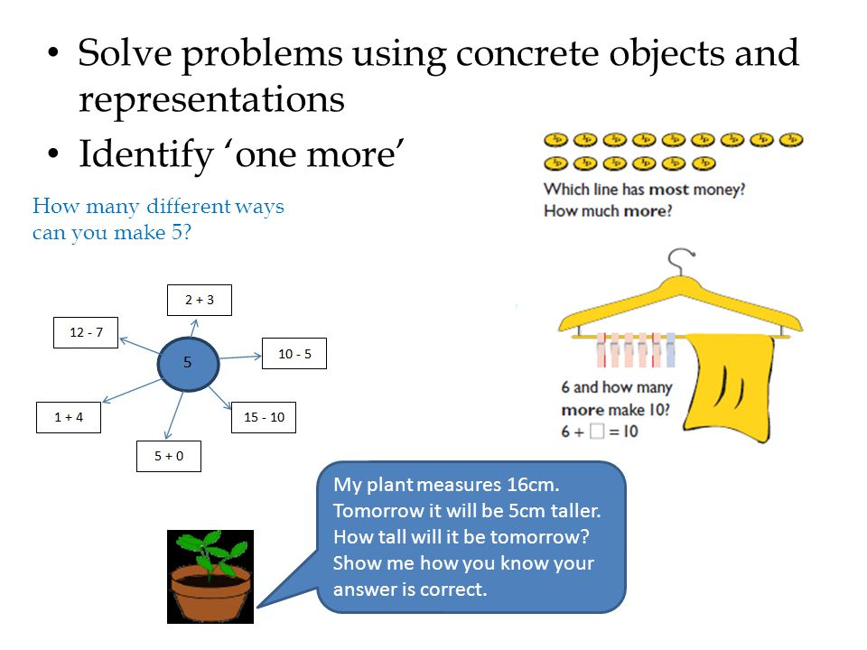 Solve problems using concrete objects and representations