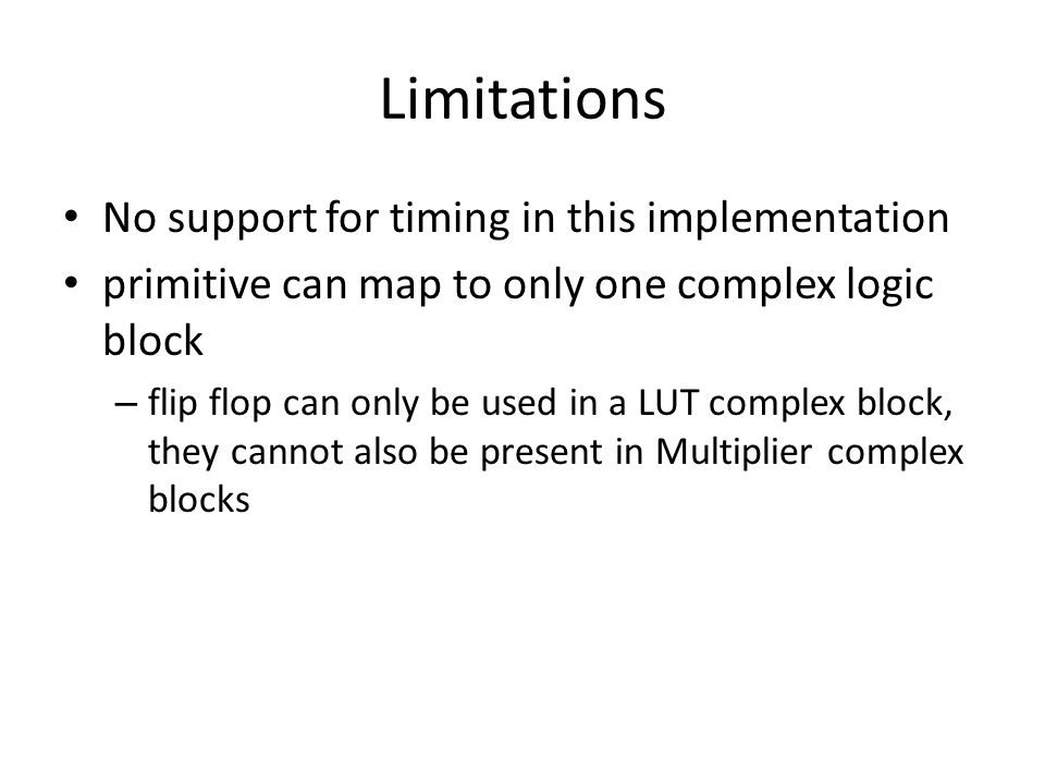 Limitations No support for timing in this implementation