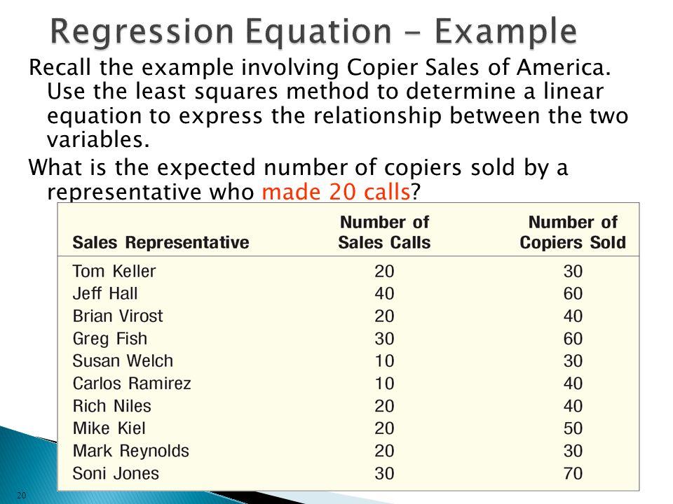 Regression Equation - Example