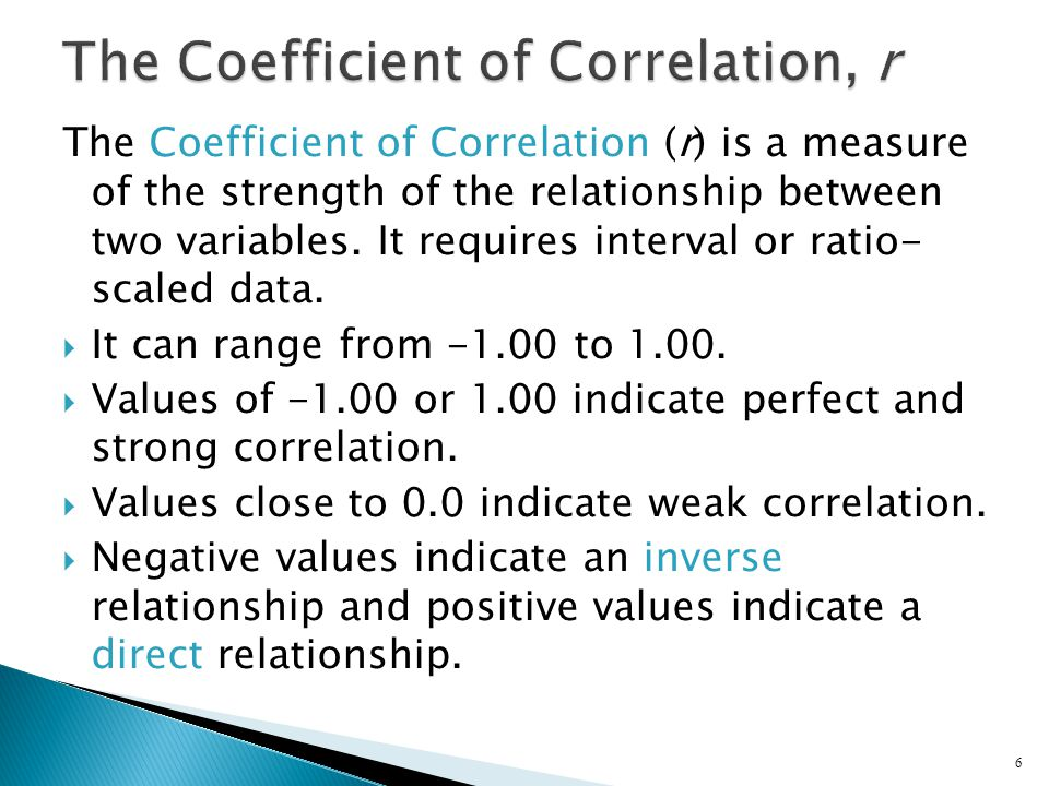 The Coefficient of Correlation, r