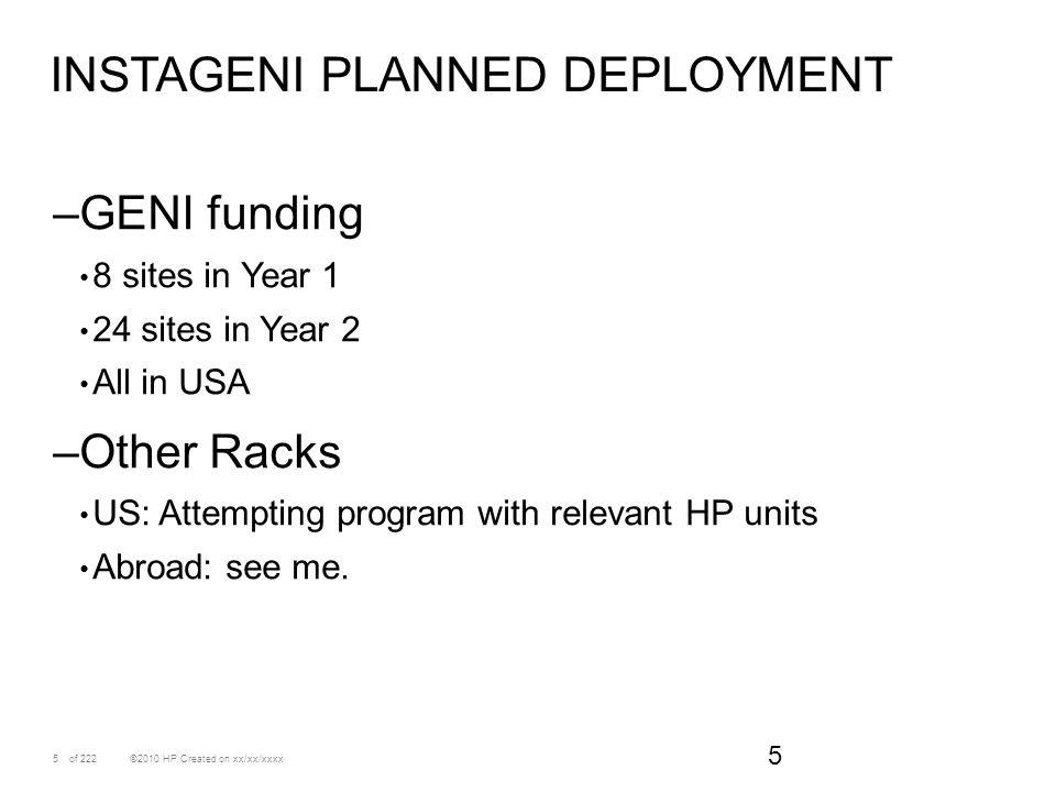 Instageni planned deployment