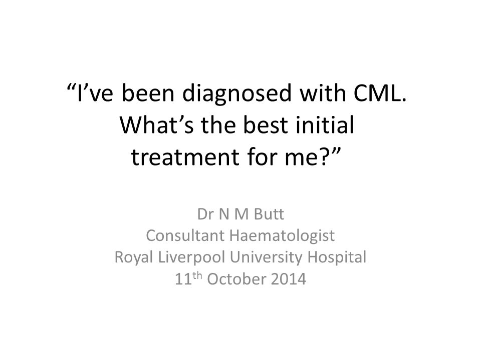 I've been diagnosed with CML. What's the best initial treatment for me
