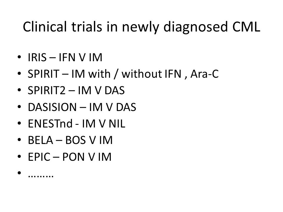 Clinical trials in newly diagnosed CML