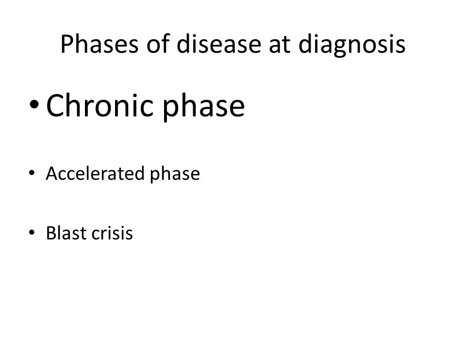 Phases of disease at diagnosis