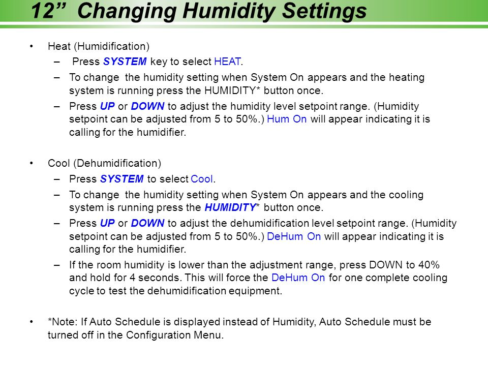 12 Changing Humidity Settings