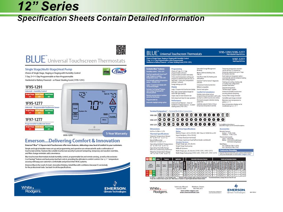 12 Series Specification Sheets Contain Detailed Information