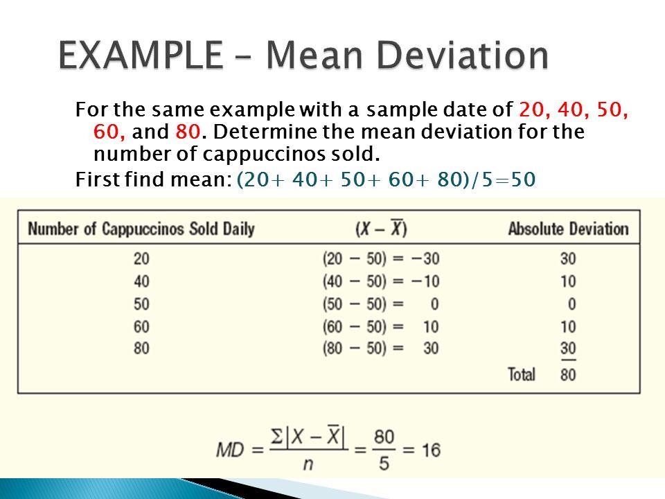EXAMPLE – Mean Deviation