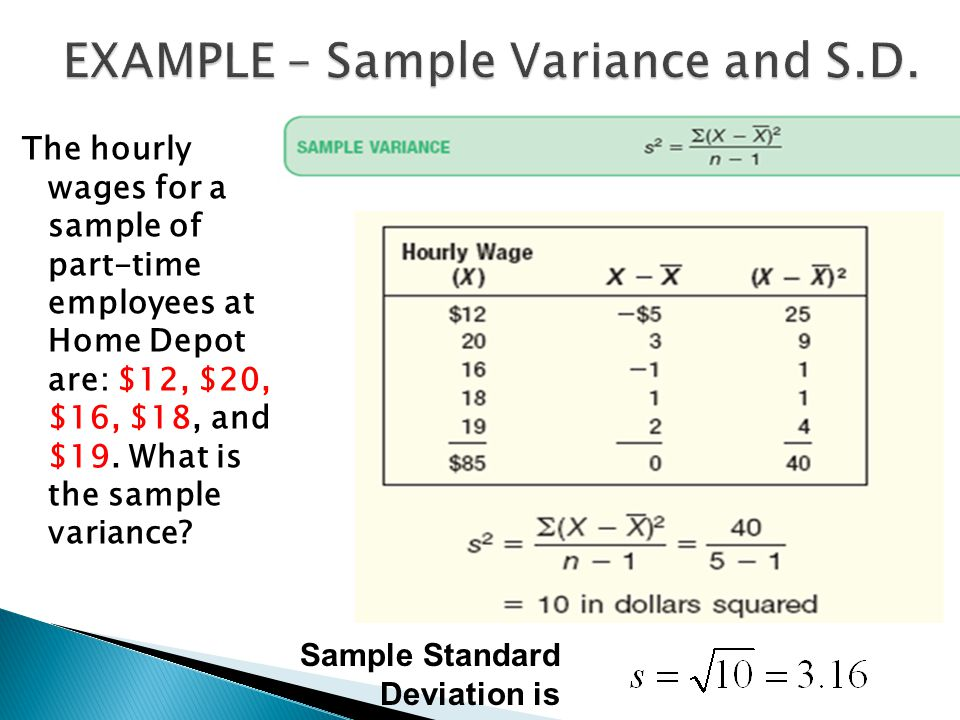 EXAMPLE – Sample Variance and S.D.