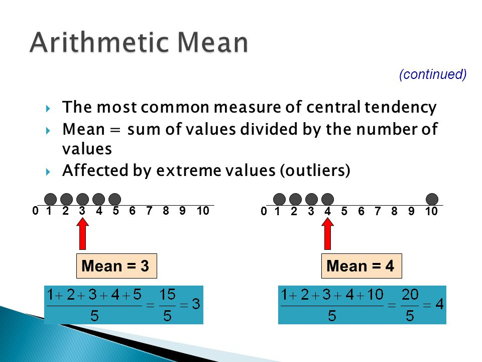 Arithmetic Mean The most common measure of central tendency