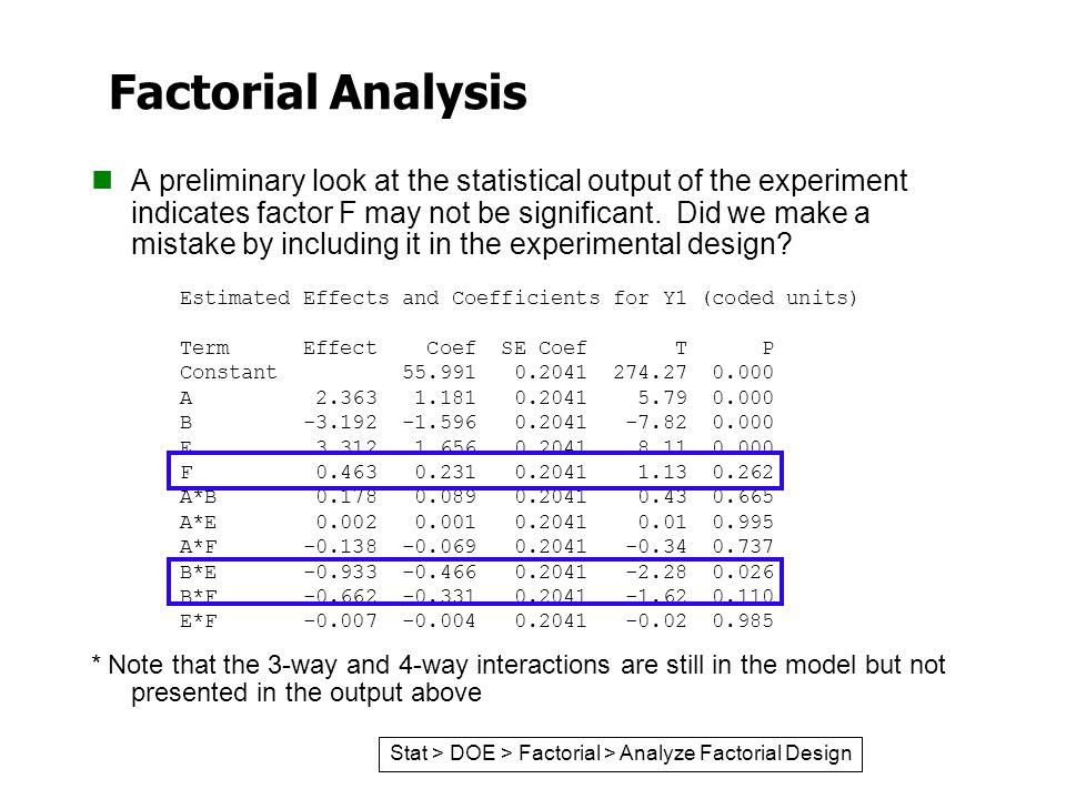 Factorial Analysis