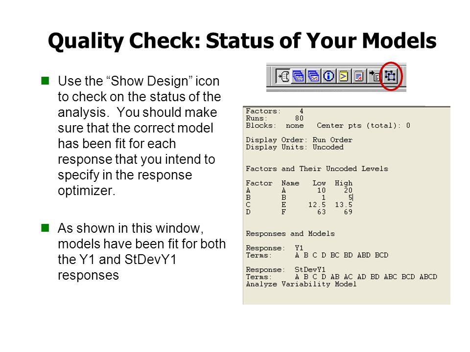 Quality Check: Status of Your Models