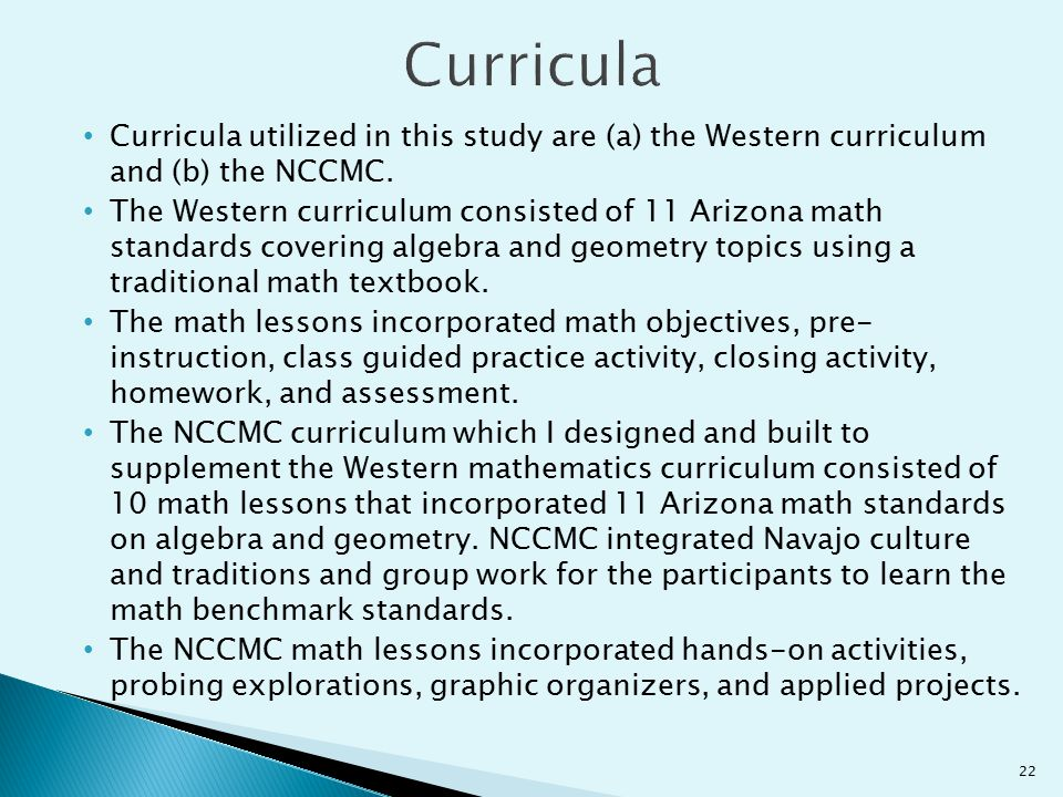 Curricula Curricula utilized in this study are (a) the Western curriculum and (b) the NCCMC.