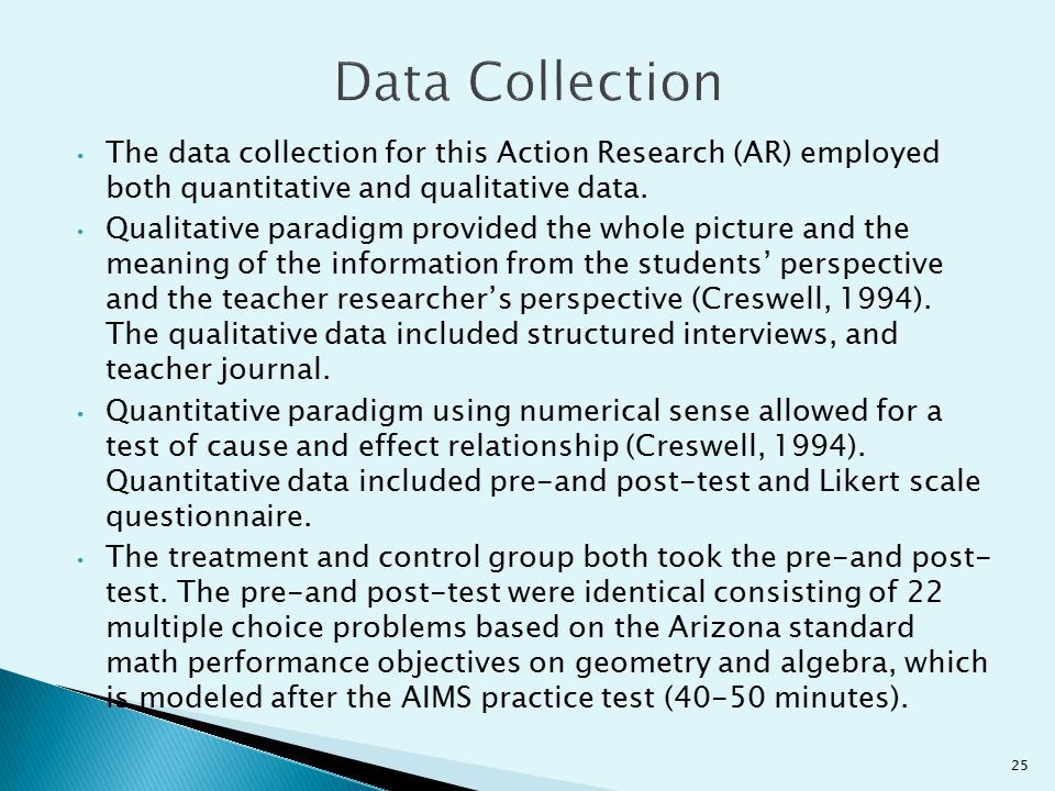 Data Collection The data collection for this Action Research (AR) employed both quantitative and qualitative data.