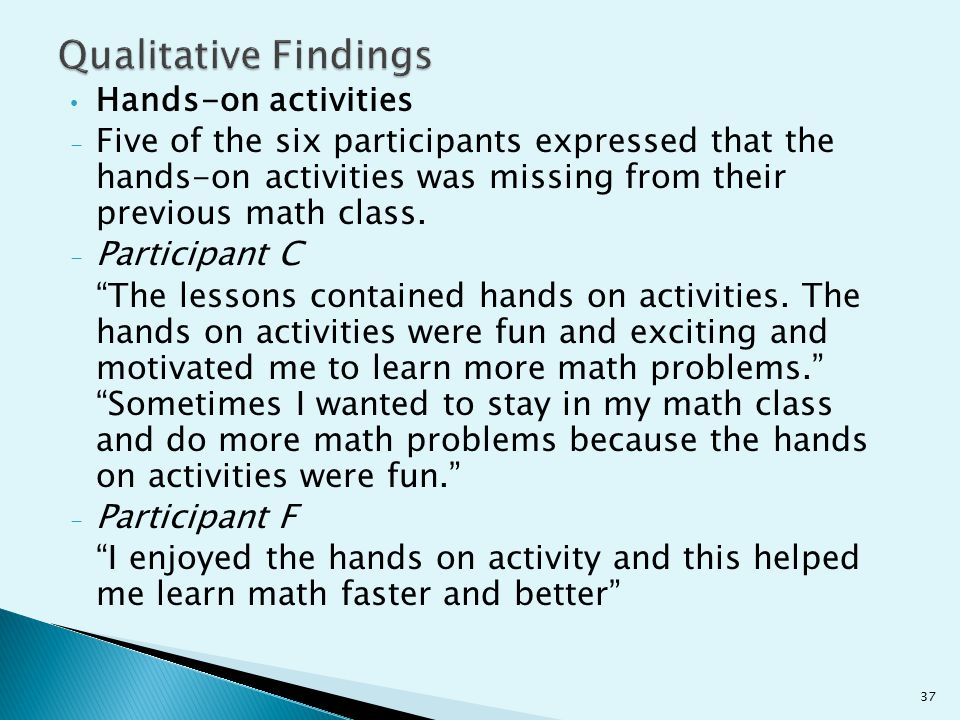 Qualitative Findings Hands-on activities