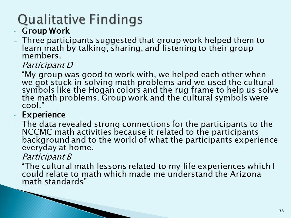 Qualitative Findings Group Work