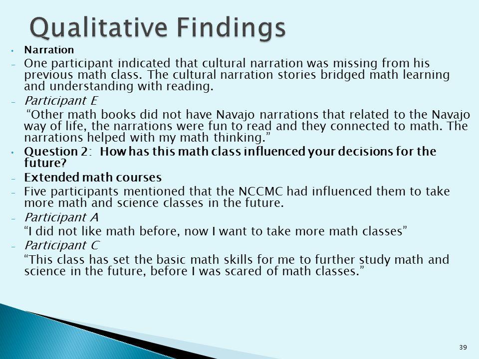 Qualitative Findings Narration.