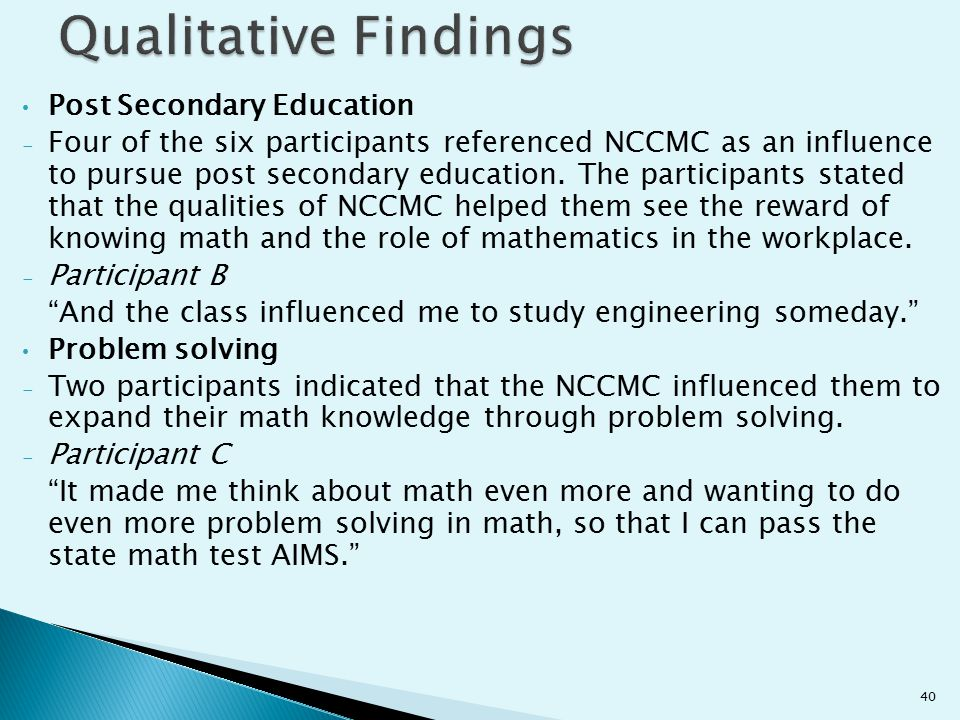 Qualitative Findings Post Secondary Education