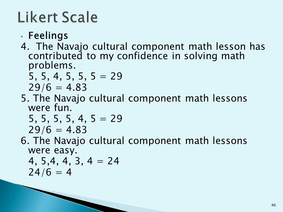 Likert Scale Feelings. 4. The Navajo cultural component math lesson has contributed to my confidence in solving math problems.