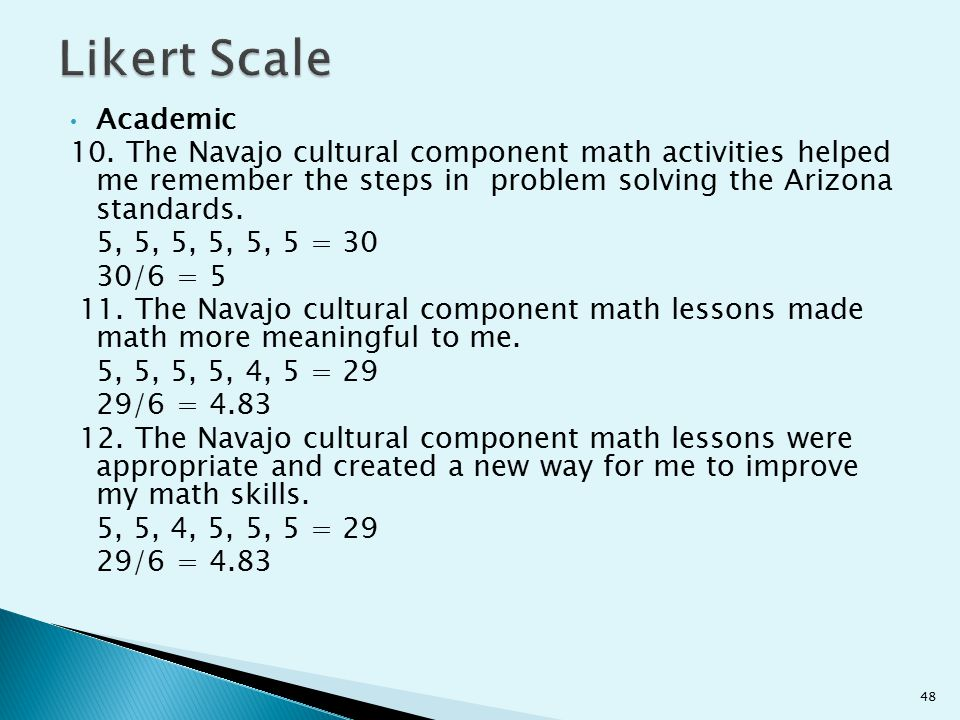 Likert Scale Academic. 10. The Navajo cultural component math activities helped me remember the steps in problem solving the Arizona standards.