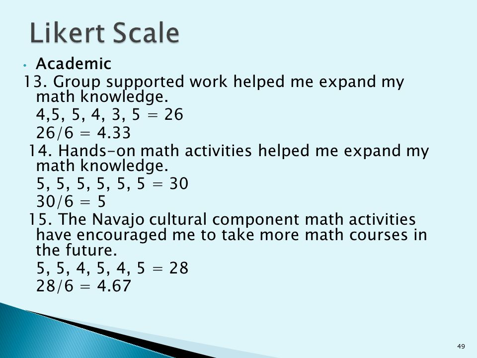 Likert Scale Academic. 13. Group supported work helped me expand my math knowledge. 4,5, 5, 4, 3, 5 = 26.