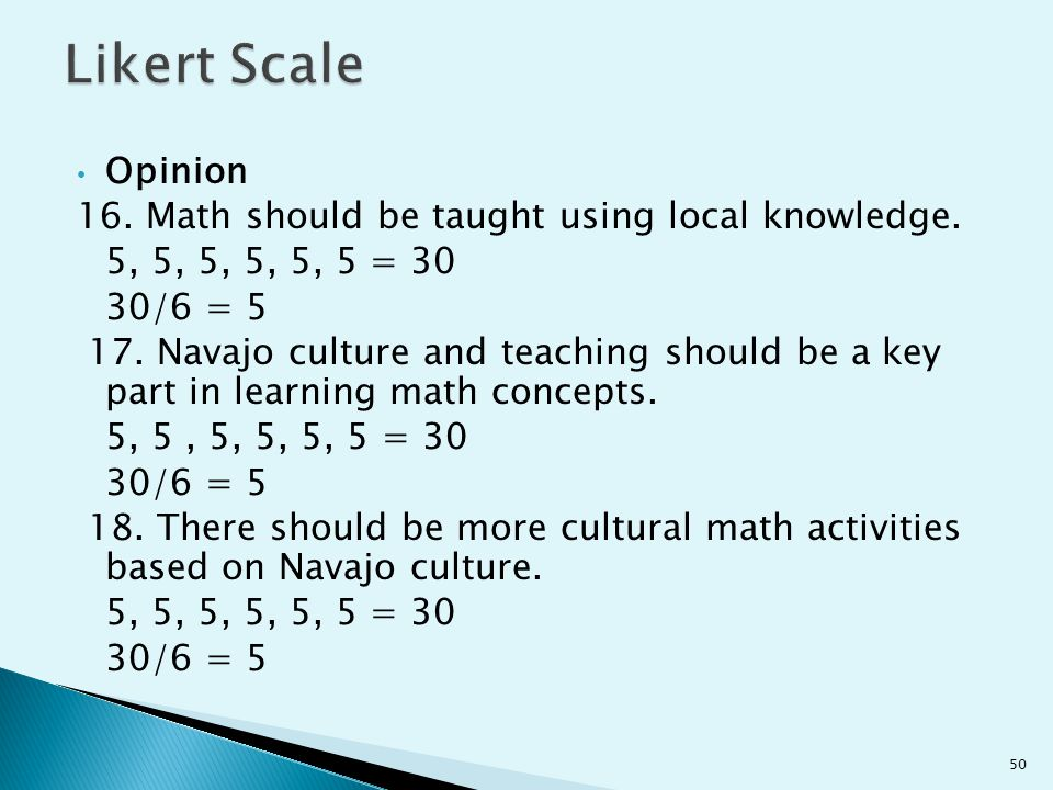 Likert Scale Opinion 16. Math should be taught using local knowledge.