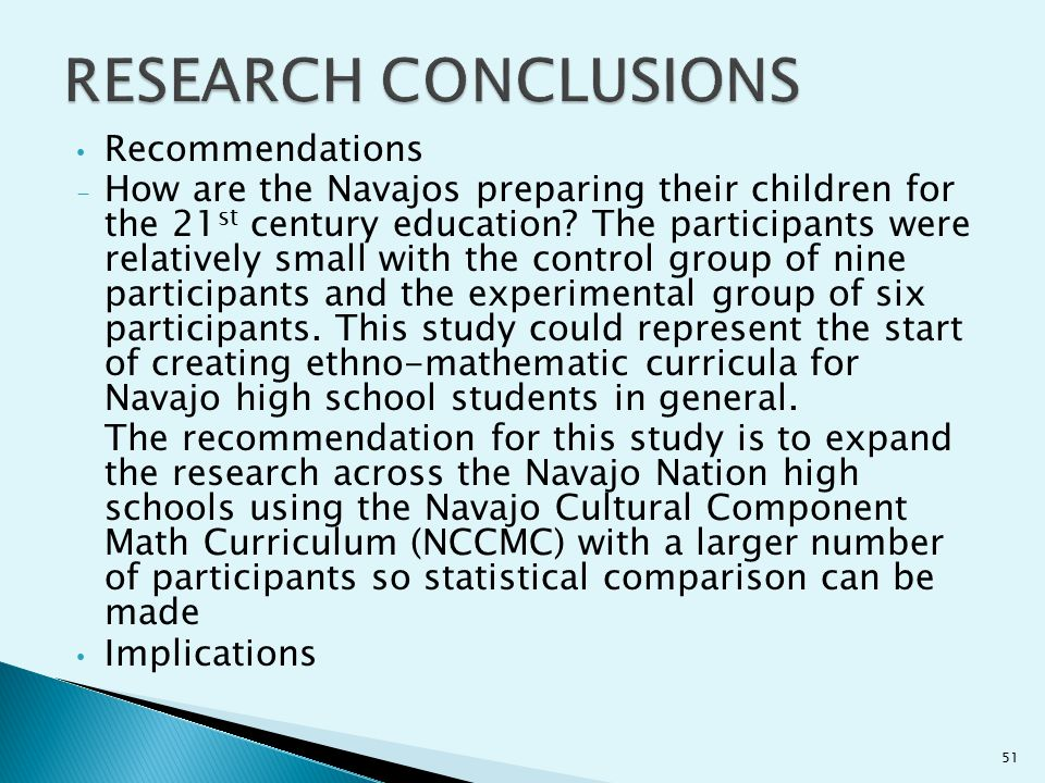 RESEARCH CONCLUSIONS Recommendations