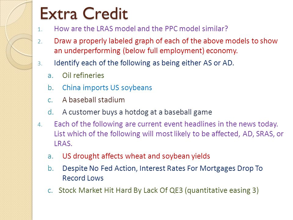 Extra Credit How are the LRAS model and the PPC model similar