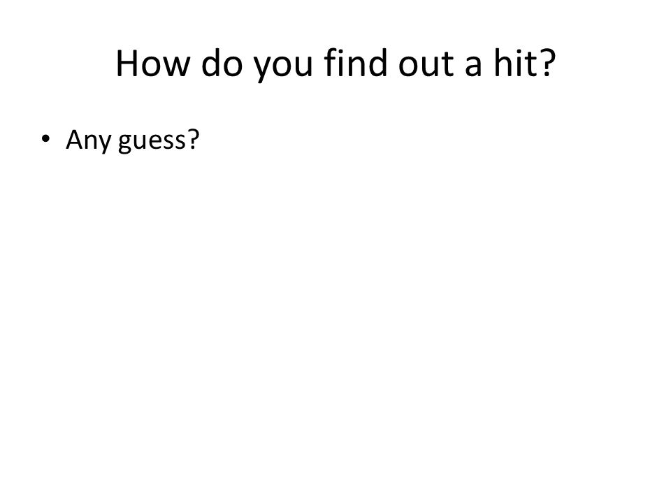 How do you find out a hit Any guess