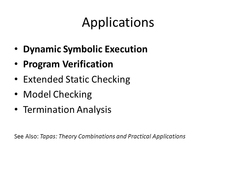 Applications Dynamic Symbolic Execution Program Verification
