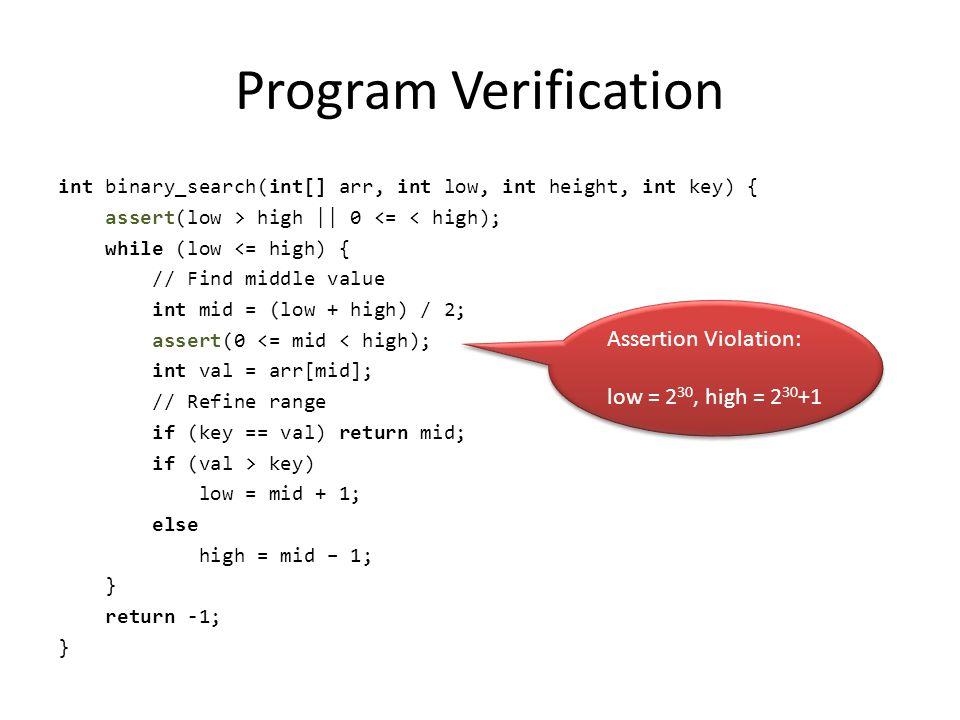 Program Verification Assertion Violation: low = 230, high = 230+1
