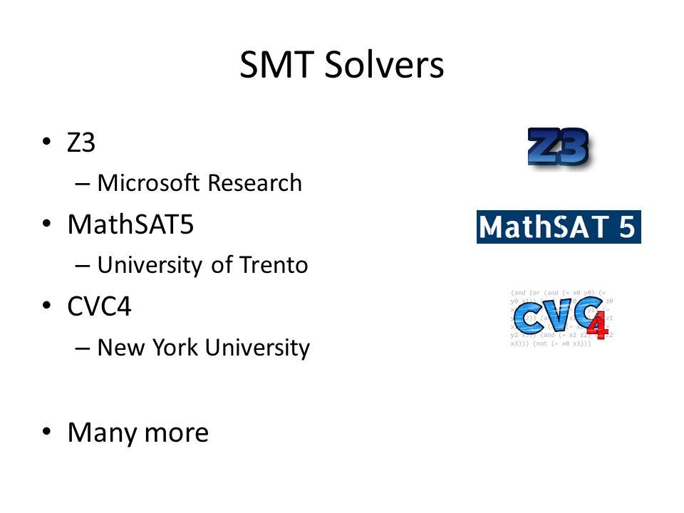 SMT Solvers Z3 MathSAT5 CVC4 Many more Microsoft Research