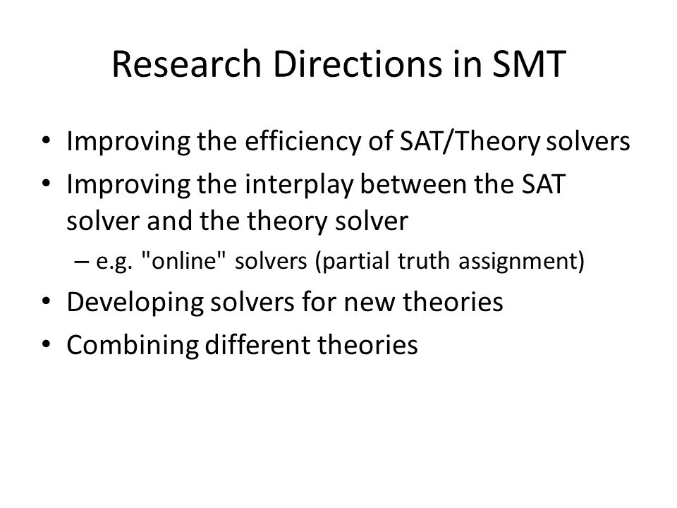 Research Directions in SMT