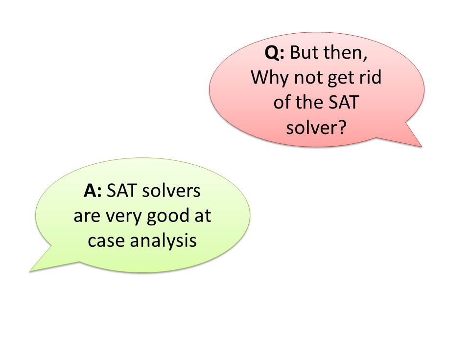 Q: But then, Why not get rid of the SAT solver