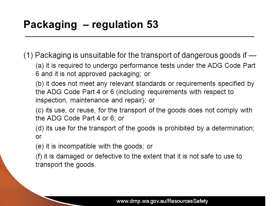 Packaging – regulation 53
