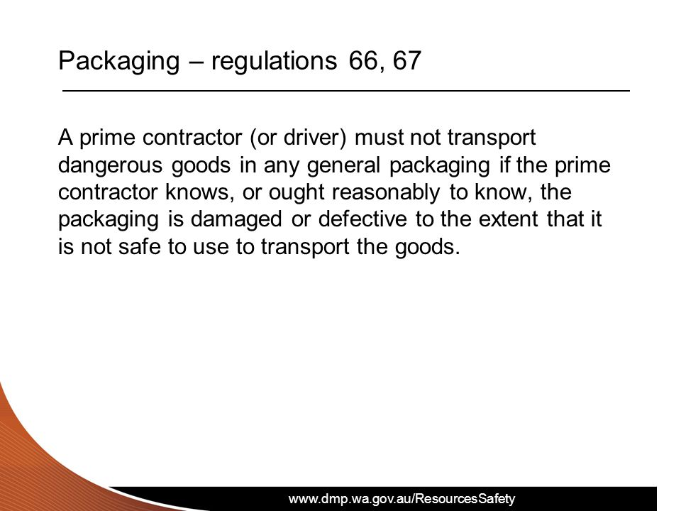 Packaging – regulations 66, 67