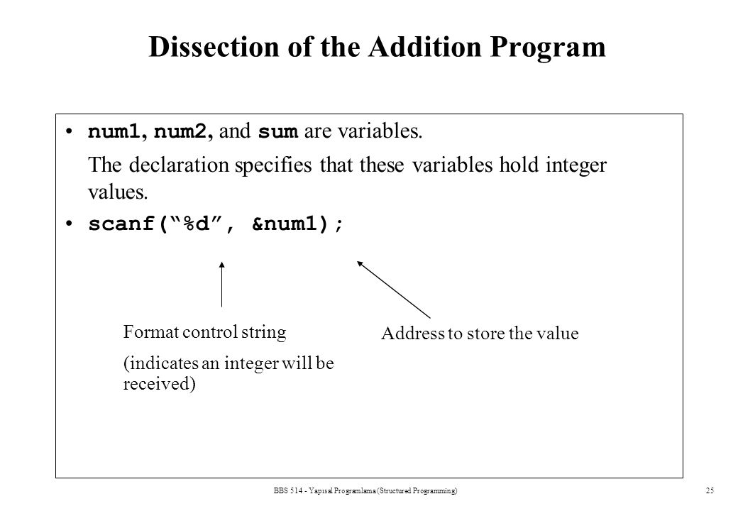 Dissection of the Addition Program