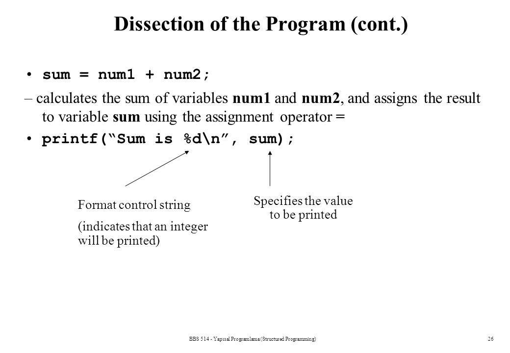 Dissection of the Program (cont.)