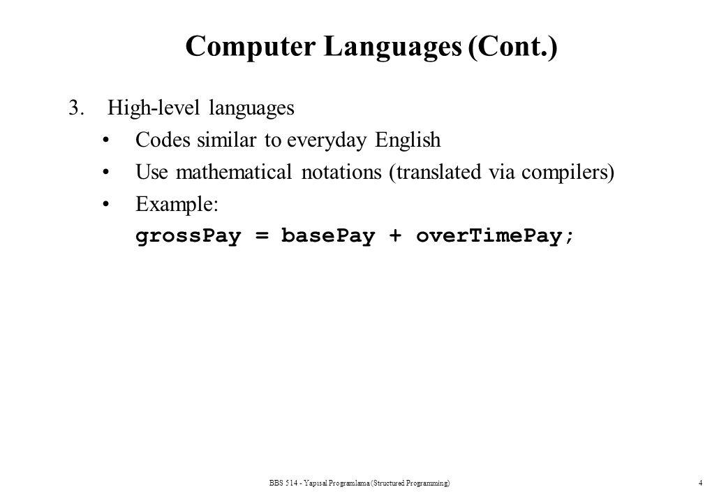 Computer Languages (Cont.)