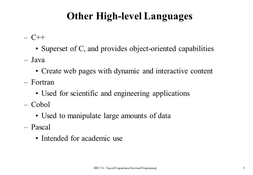 Other High-level Languages