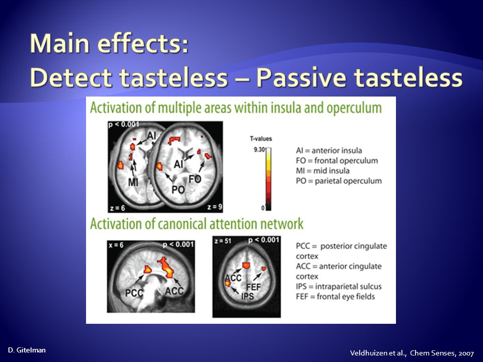 Main effects: Detect tasteless – Passive tasteless