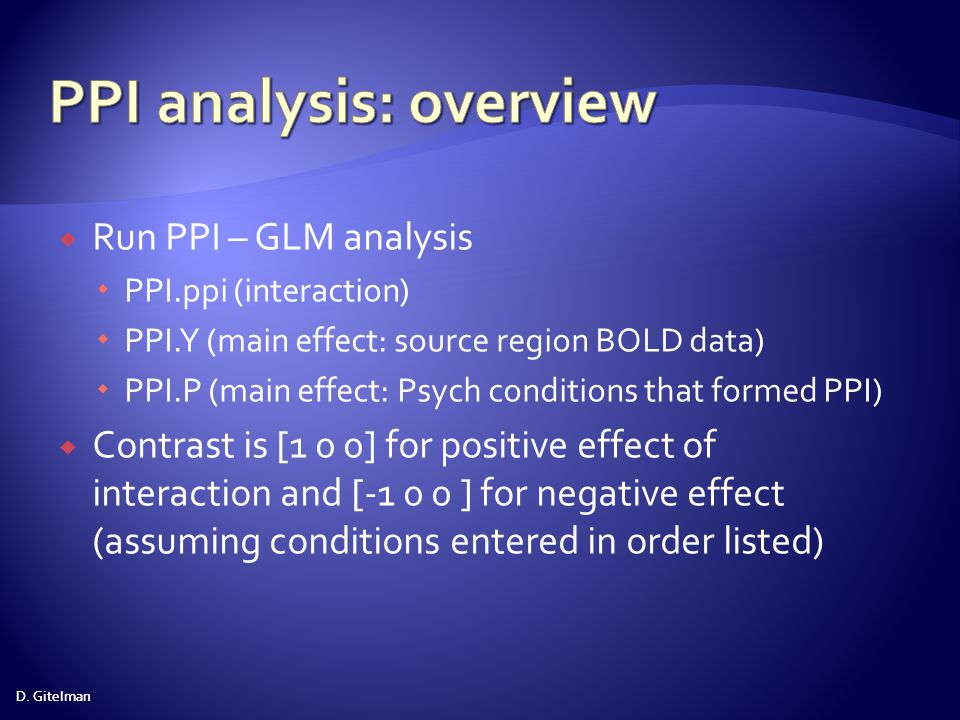 PPI analysis: overview