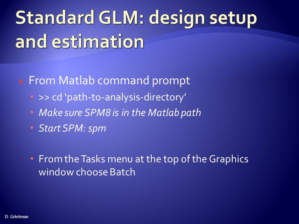 Standard GLM: design setup and estimation