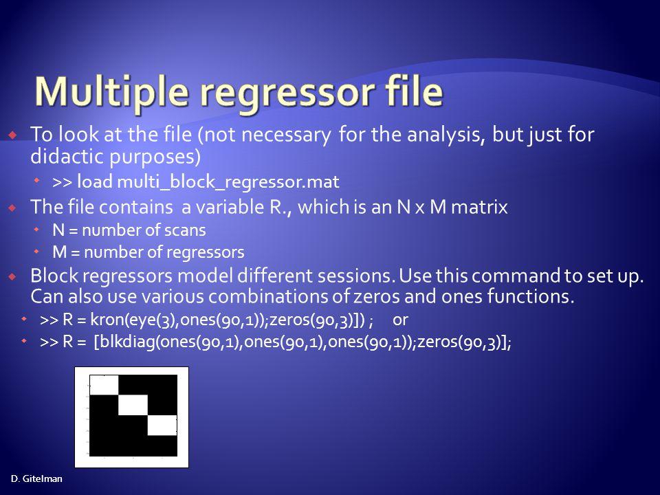 Multiple regressor file